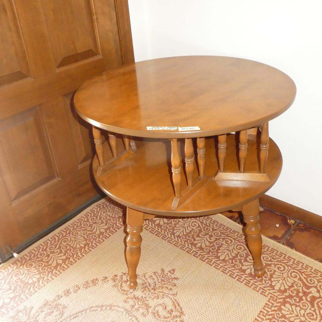 Lot # 150 - Vintage Wooden Rotating End Table (Lazy Susan Style) (main image)