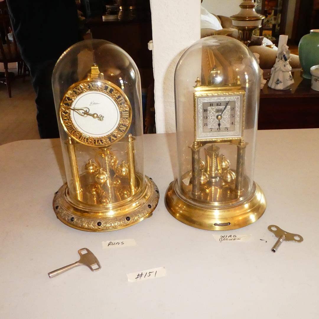 Lot # 151 - Vintage Glass Dome 'Kern' Clock (Runs) & 'Schatz' Clock - Germany (main image)