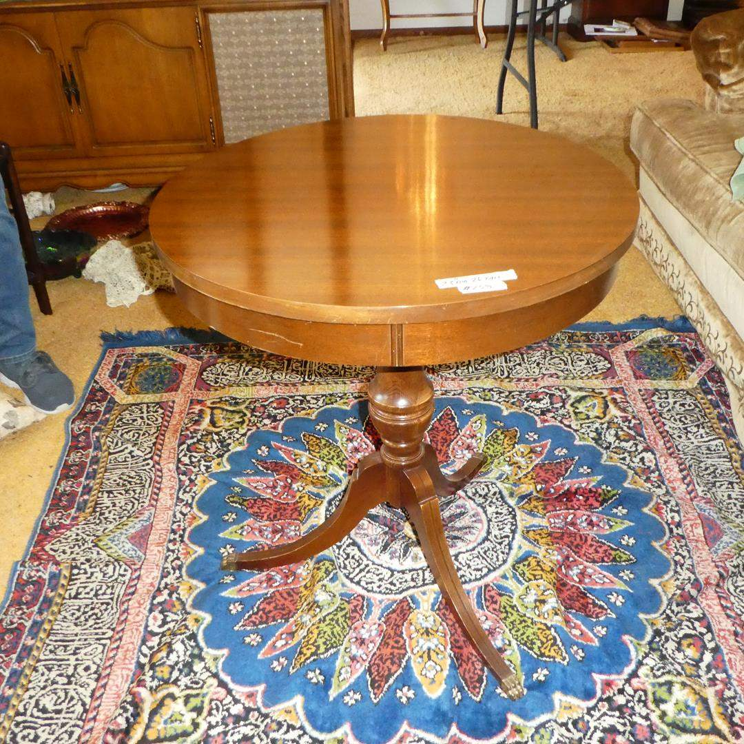 Lot # 158 - Vintage 'Mersman' Drum Table w/Metal Toe Caps (main image)