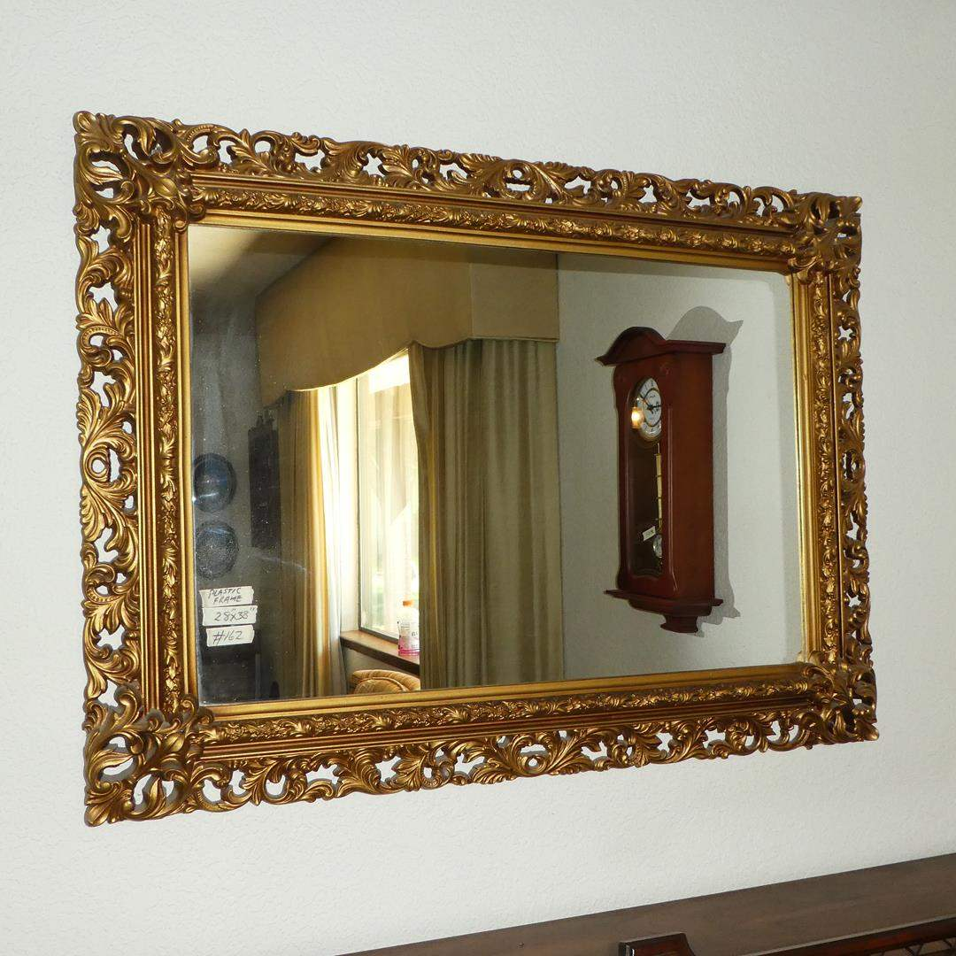 Lot # 162 - Vintage Ornate Plastic Framed Wall Mirror (main image)