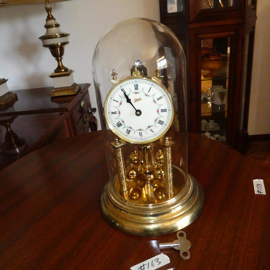 "Lot # 163 - 1950 German Schatz #49 400 Day Clock Brass w/Glass Dome 12"" w/Key - Runs (main image)"
