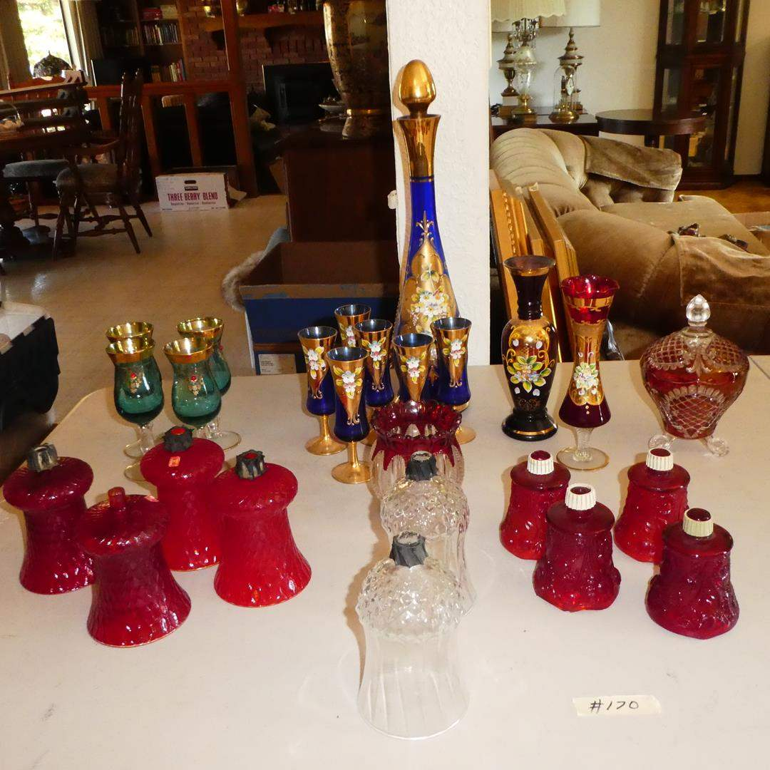 Lot # 170 - Vintage Hand Painted Gold Gilt Italian Stemware, Candy Dish & Glass Candle Shades (main image)