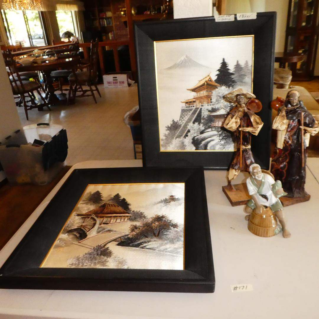Lot # 171 - Vintage Oriental Silk Art Embroidered Pictures, Paper Mache Figurines & Mud Man (main image)