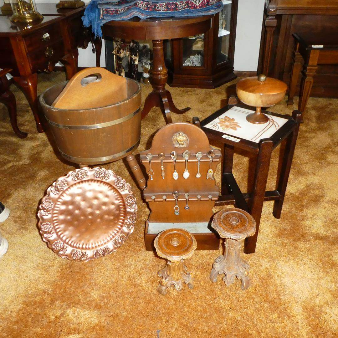 Lot # 173 - Solid Copper Tray, Primitive Bucket Magazine Rack, Candle Holders, Souvenir Spoons & Tile Top Plant Stand (main image)