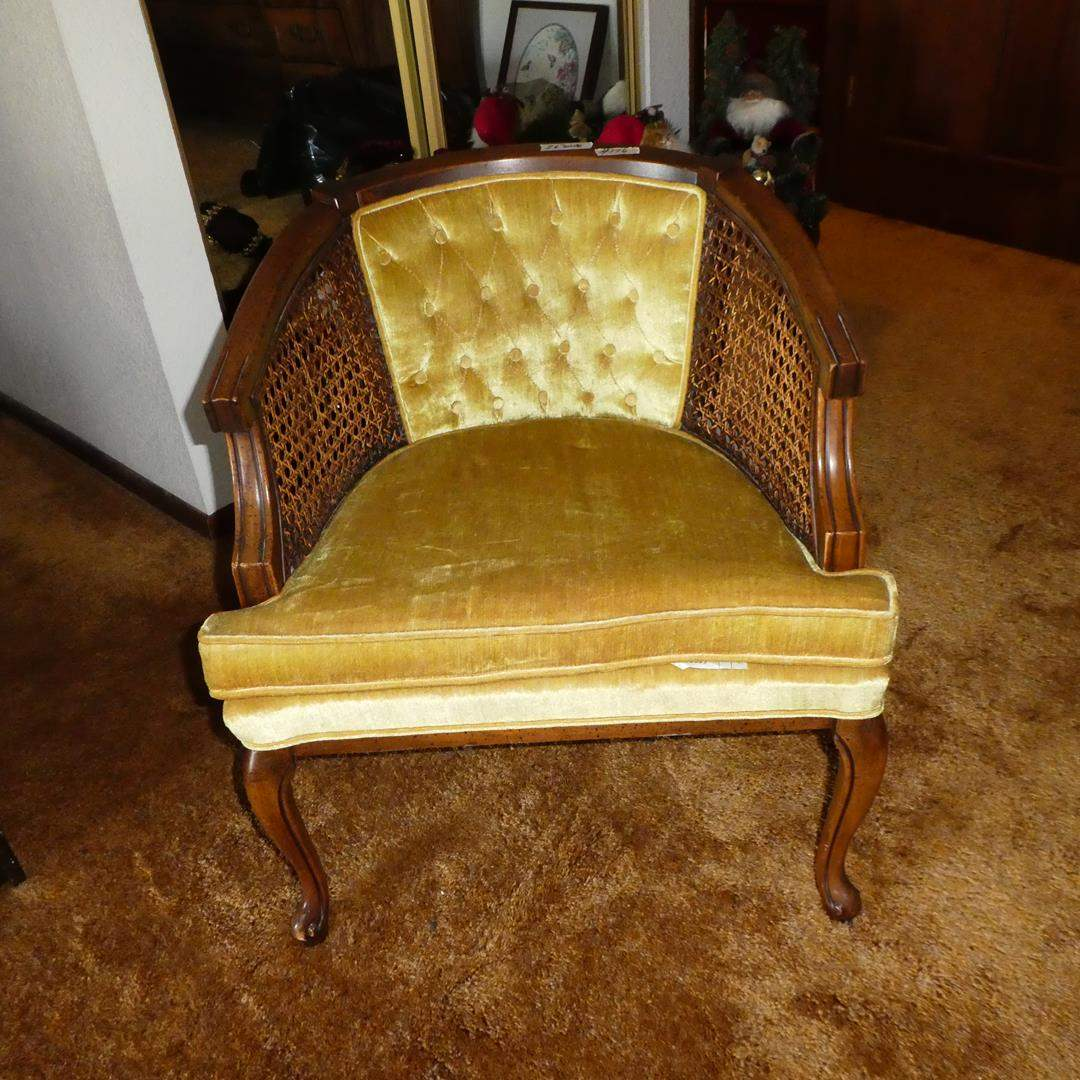 Lot # 176 - Vintage 'Kay Chair II' Cane Side Button Tufted Upholstered Arm Chair (main image)