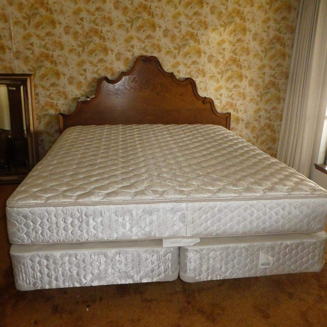 Lot # 182 - King Size Wooden Headboard, Sealy Mattress Set, Bed Rails & Quilt (main image)
