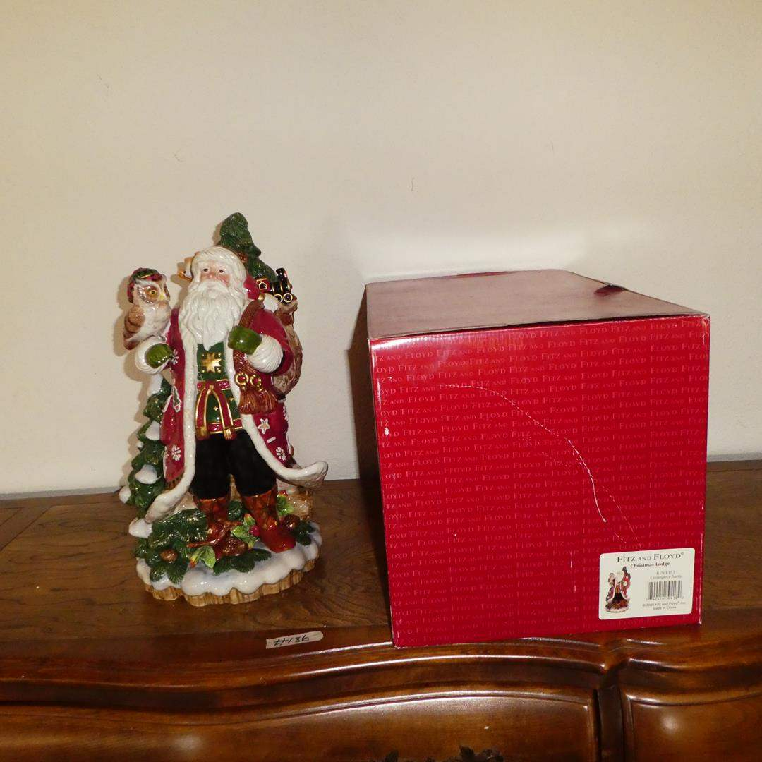 Lot # 186 - 'Fitz & Floyd' Classics Christmas Lodge Centerpiece Santa w/Original Box (main image)