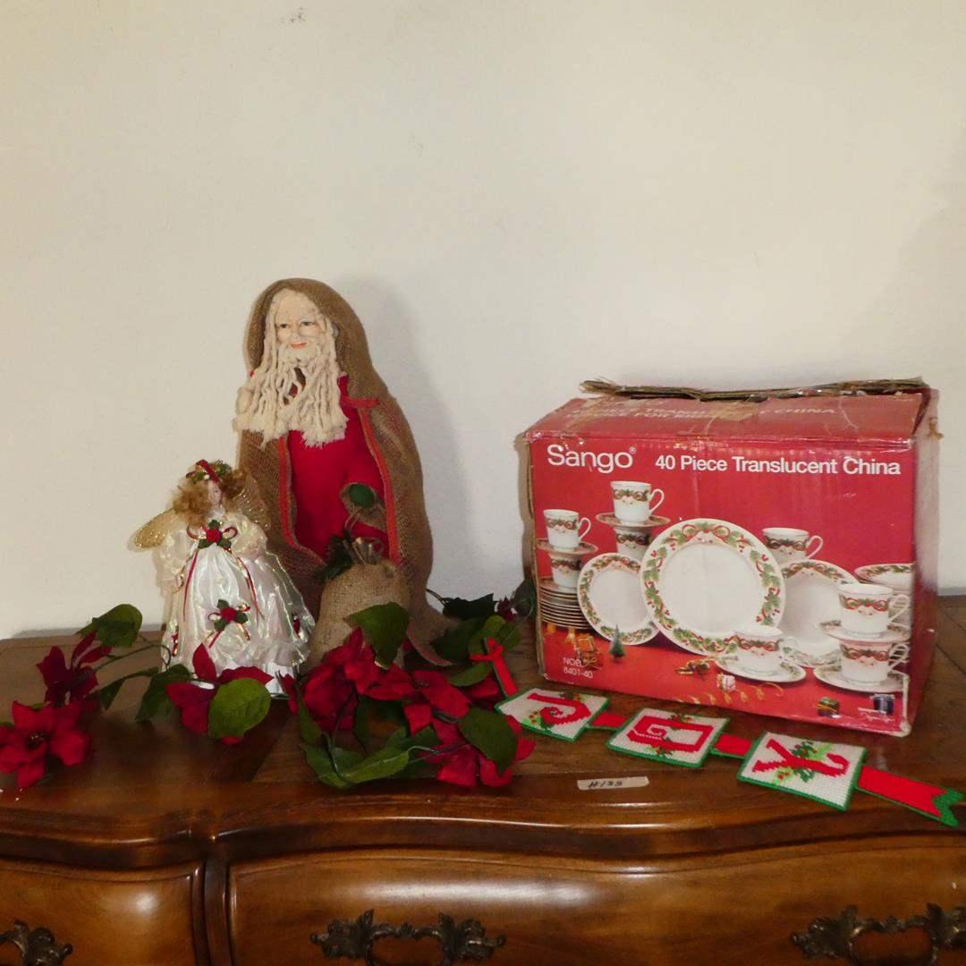 Lot # 188 - 'Sango' 40 Piece Christmas China Set (NIB), Angel Tree Topper & Primitive Santa (main image)