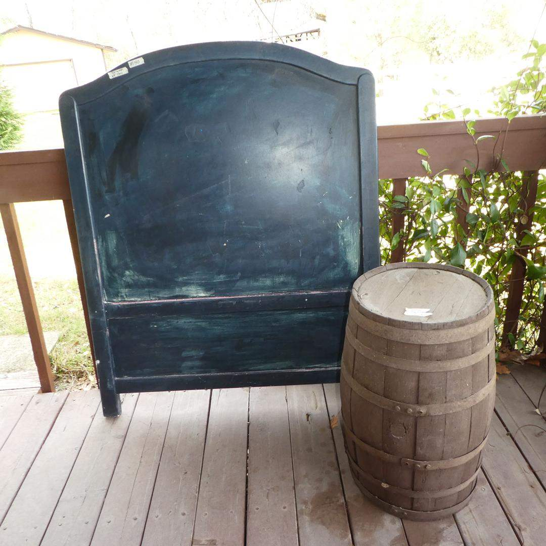 Lot # 190 - Vintage Wooden Headboard & Old Wooden Barrel (main image)