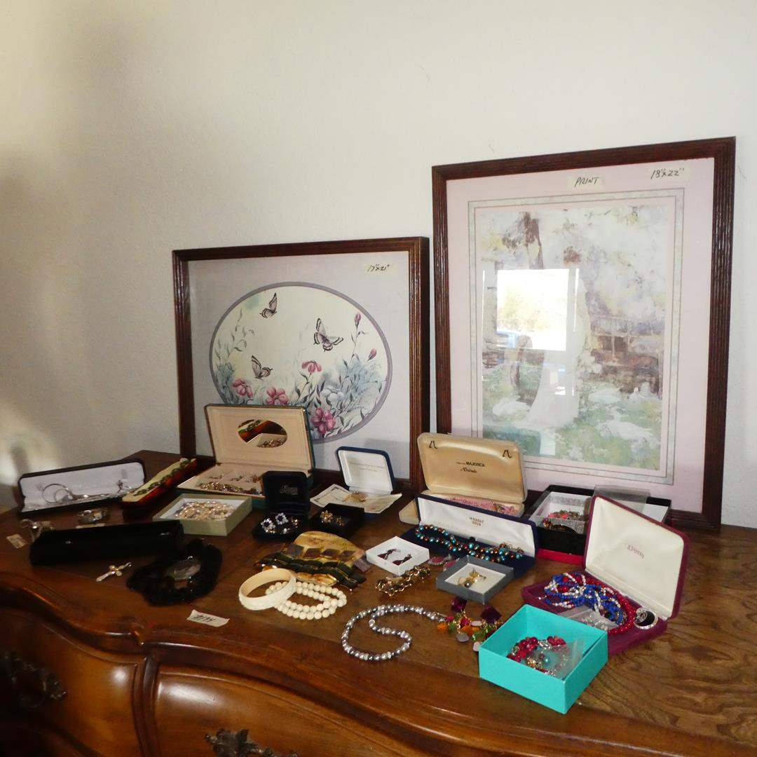 Lot # 194 - Vintage Ladies Wristwatches, Costume Jewelry & Framed Prints (main image)