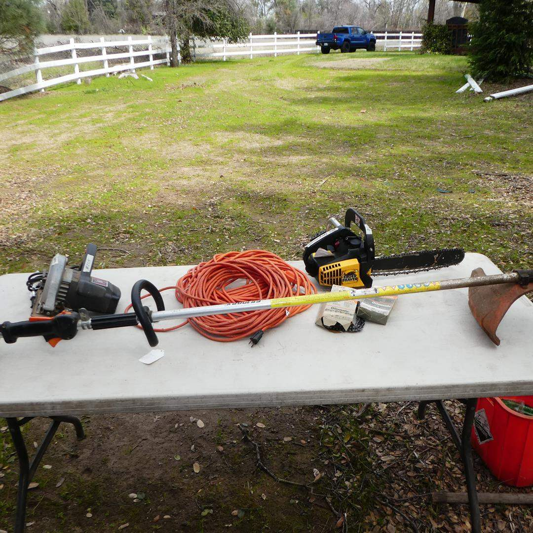 Lot # 205 - 'Stihl' Weed Trimmer, 'Skilsaw' Electric Circular Saw, 'Eager Beaver' Chainsaw & Accessories (main image)