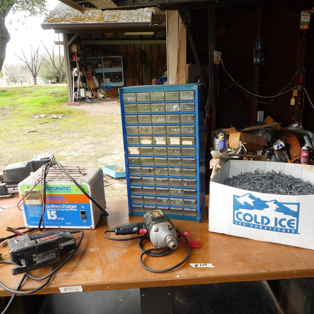 Lot # 208 - Skil Jig Saw, Craftsman Electric Drill, Battery Charger, Hardware & Nails (main image)
