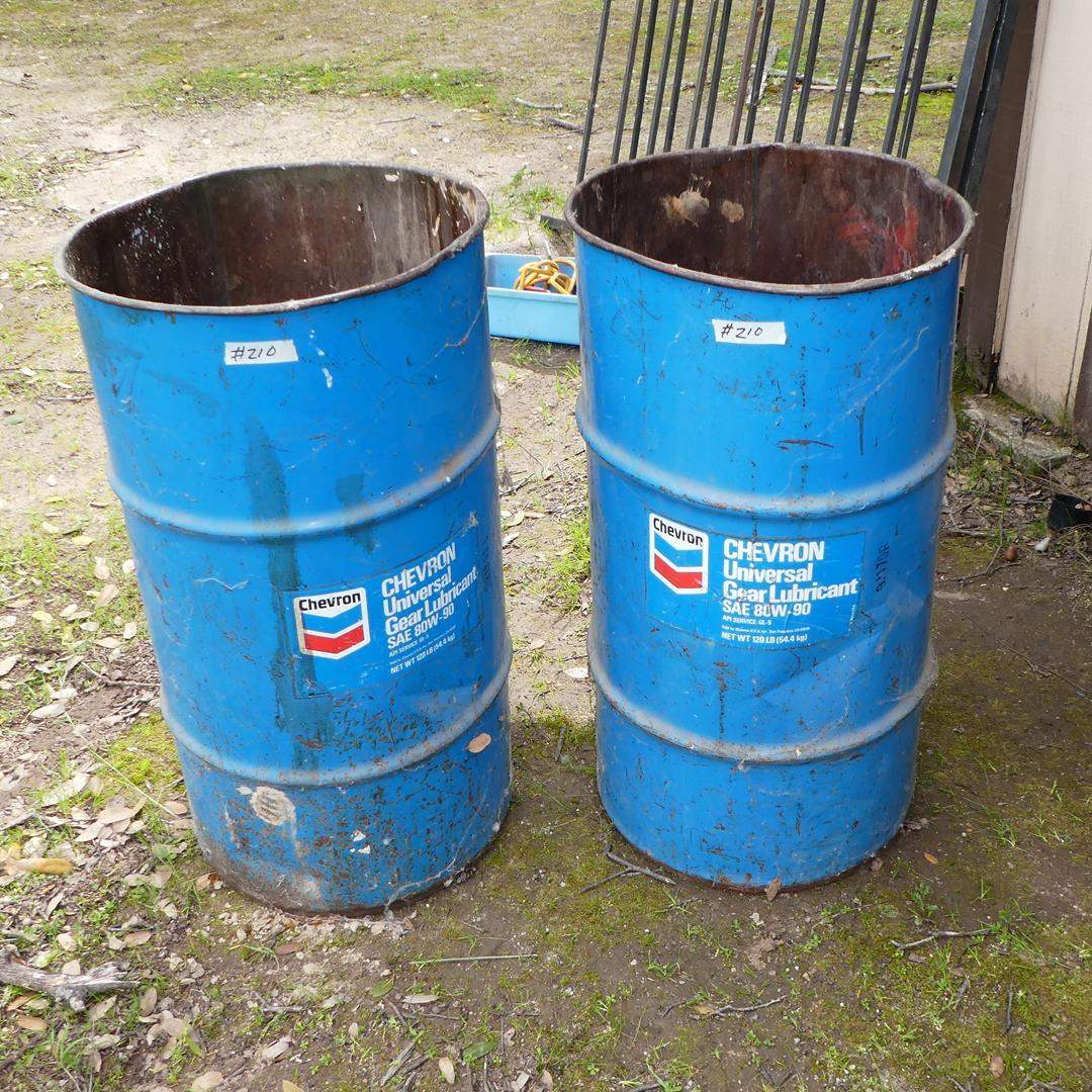 Lot # 210 - Two Vintage 'Chevron' Universal Gear Lubricant Oil Cans (main image)