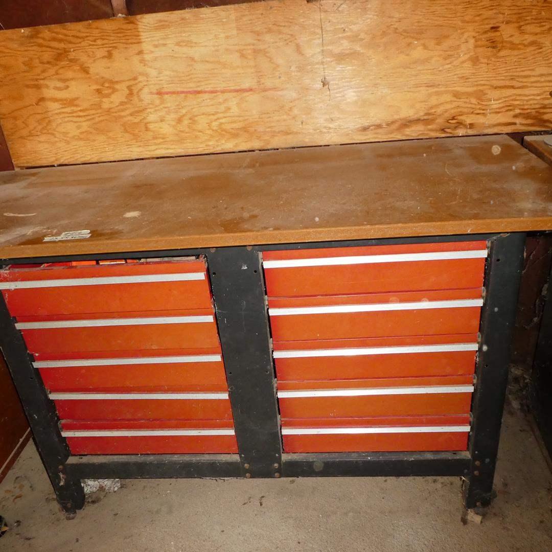Lot # 212 - 10 Drawer Tool Storage Work Bench & Misc. Tools (main image)
