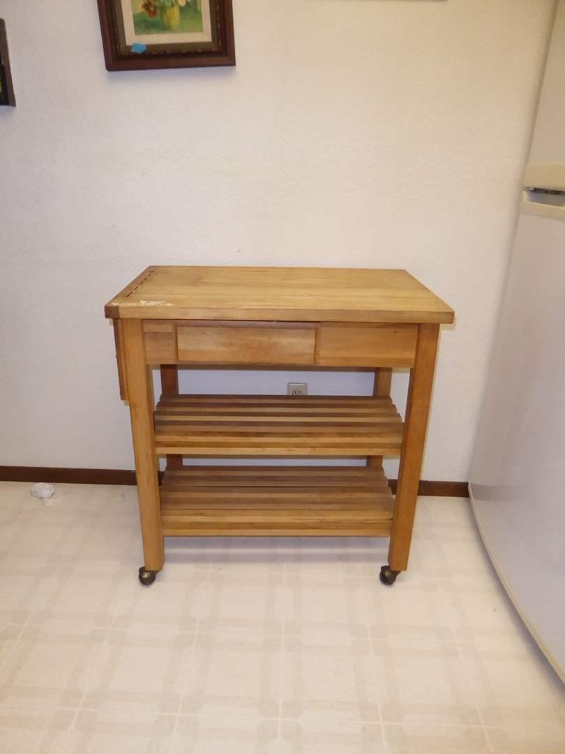 Lot # 1 - Wooden Kitchen Butcher Block Utility Cart On Wheels  (main image)