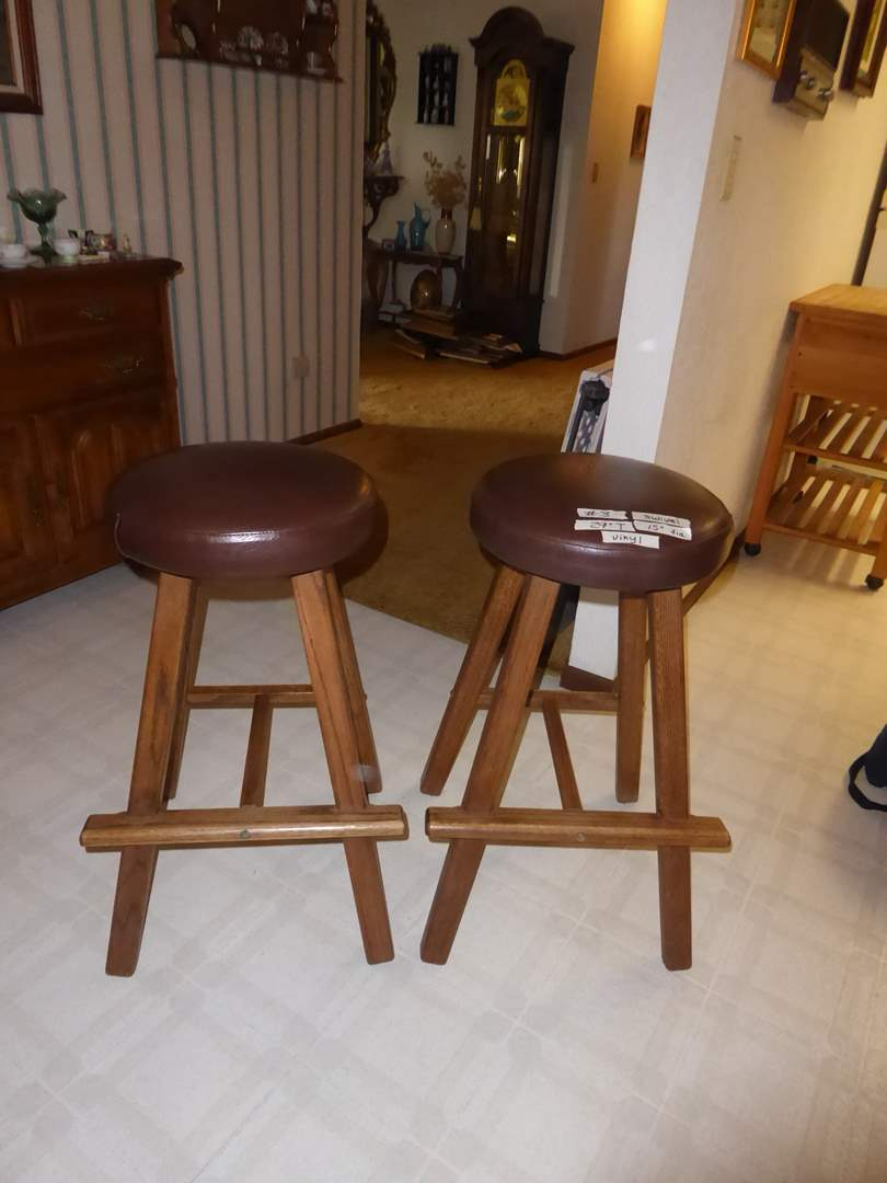 Lot # 3 - Two Wooden Bar Stools (Vinyl Tops)  (main image)