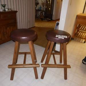 Auction Thumbnail for: Lot # 3 - Two Wooden Bar Stools (Vinyl Tops)