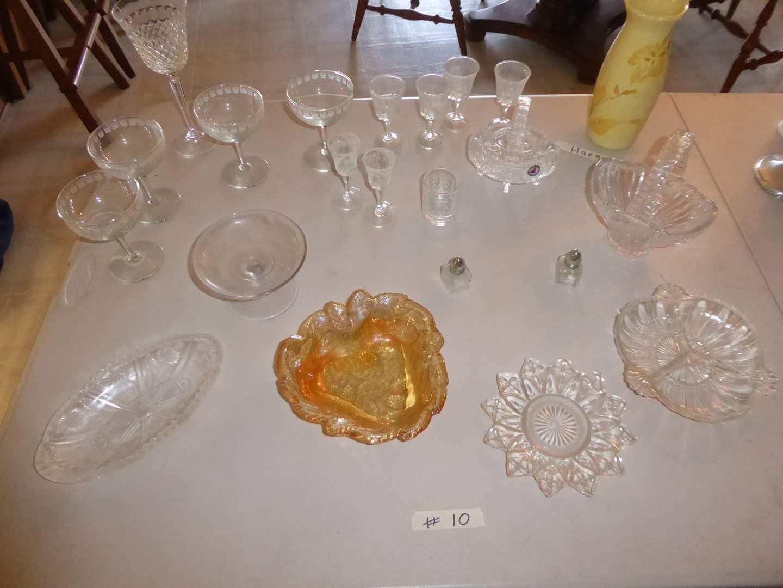 Lot # 10 - Glass Serving Dishes, Stemware & Royal Haegar Vase (main image)