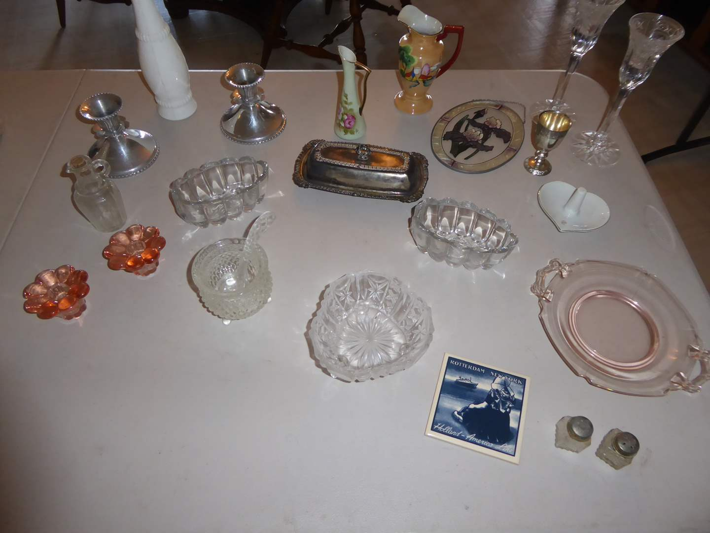 Lot # 11 - Silver-plated Butter Dish, Pewter Candle Holders & More  (main image)