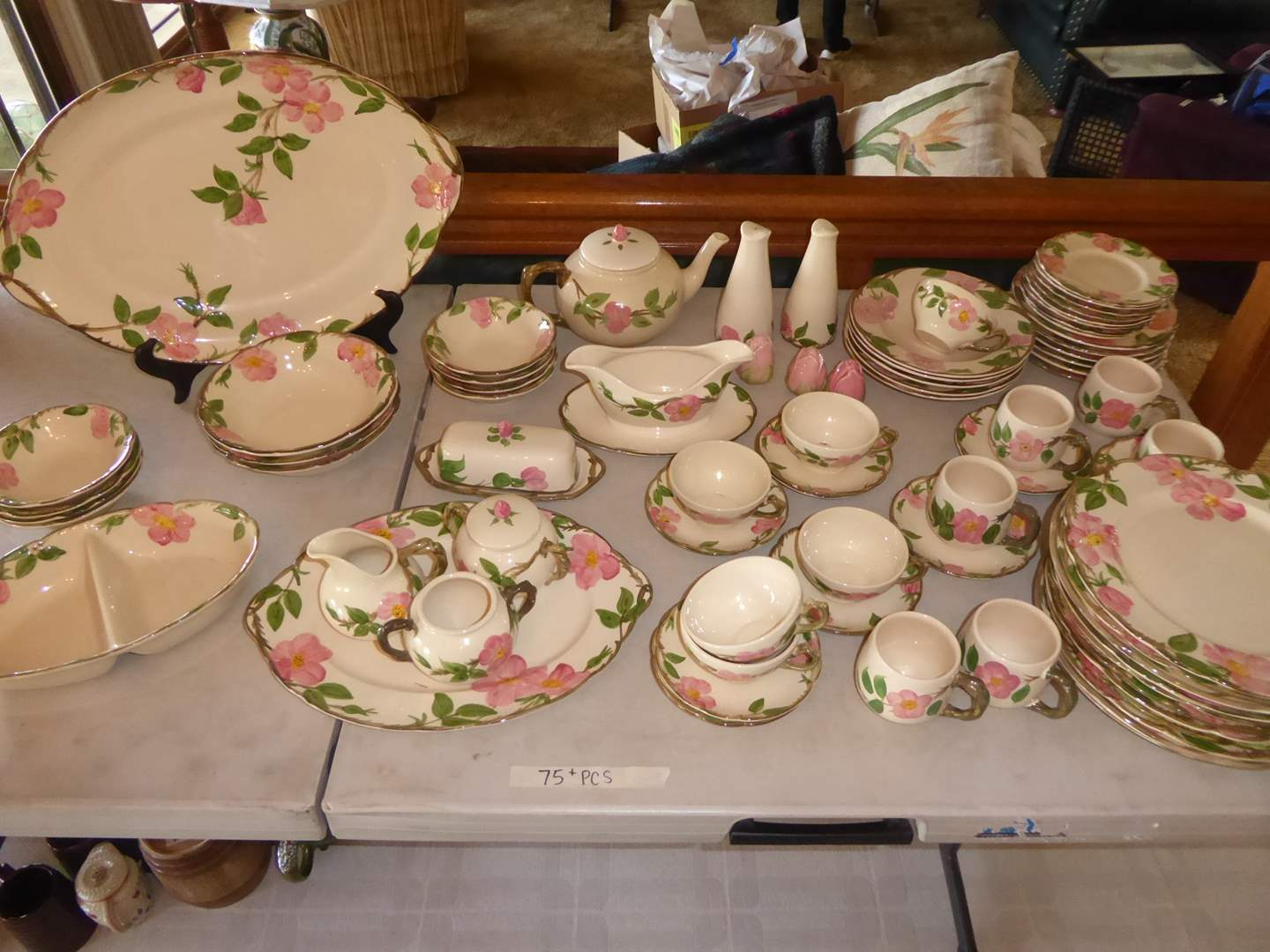Lot # 24 - Franciscan Desert Rose Dinnerware (75+ PCS)  (main image)
