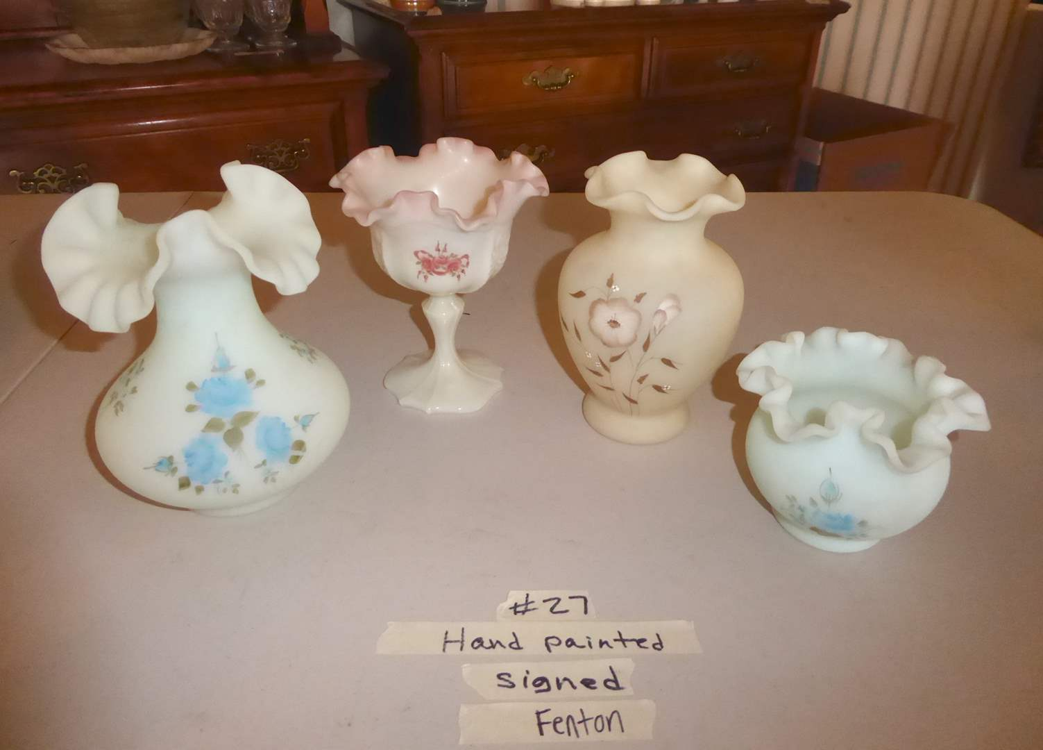 Lot # 27 - Four Hand Painted Signed Fenton Vases  (main image)