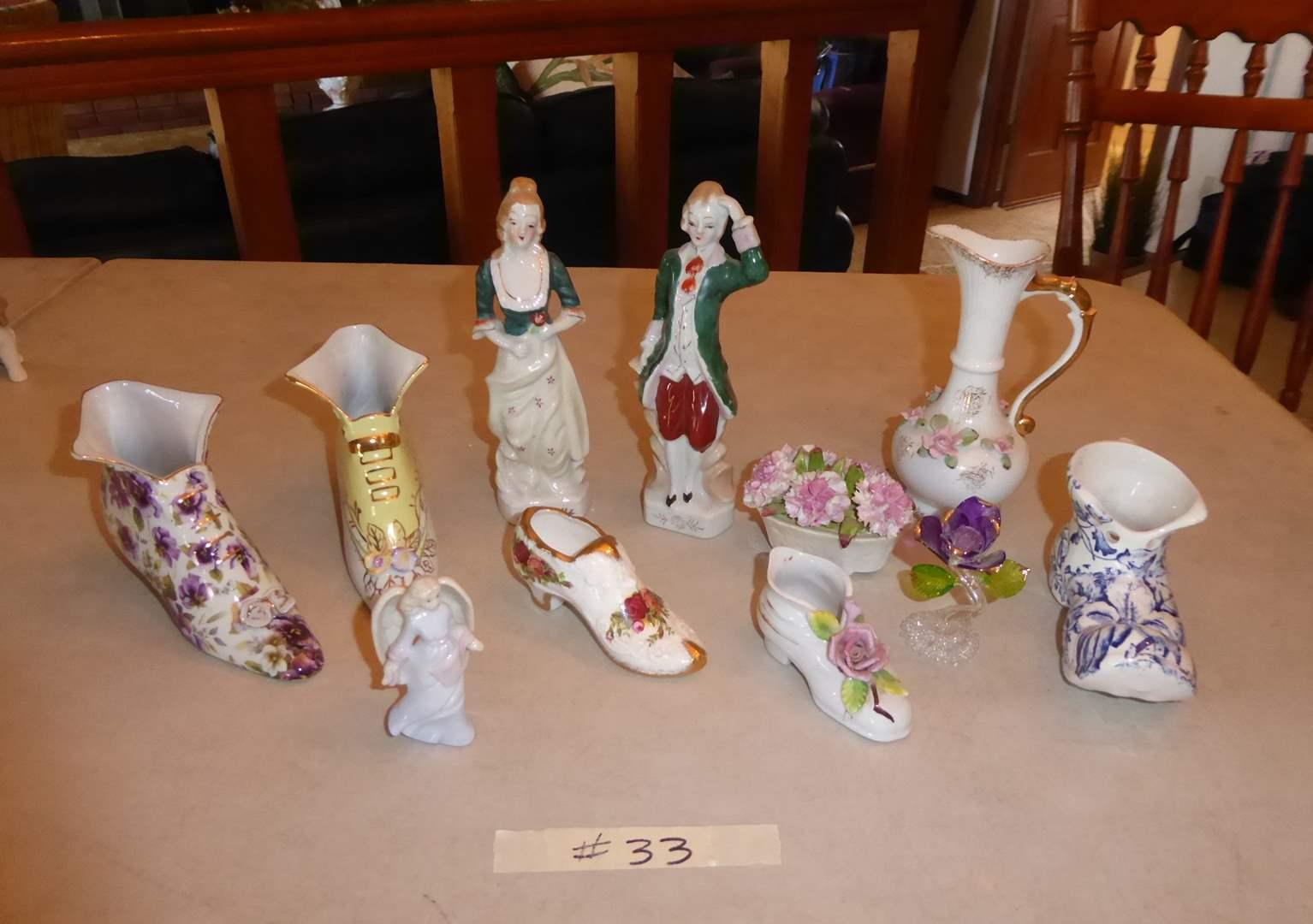Lot # 33 - Ceramic Figurines (Occupied Japan) Ansley Basket & Ceramic Shoes  (main image)