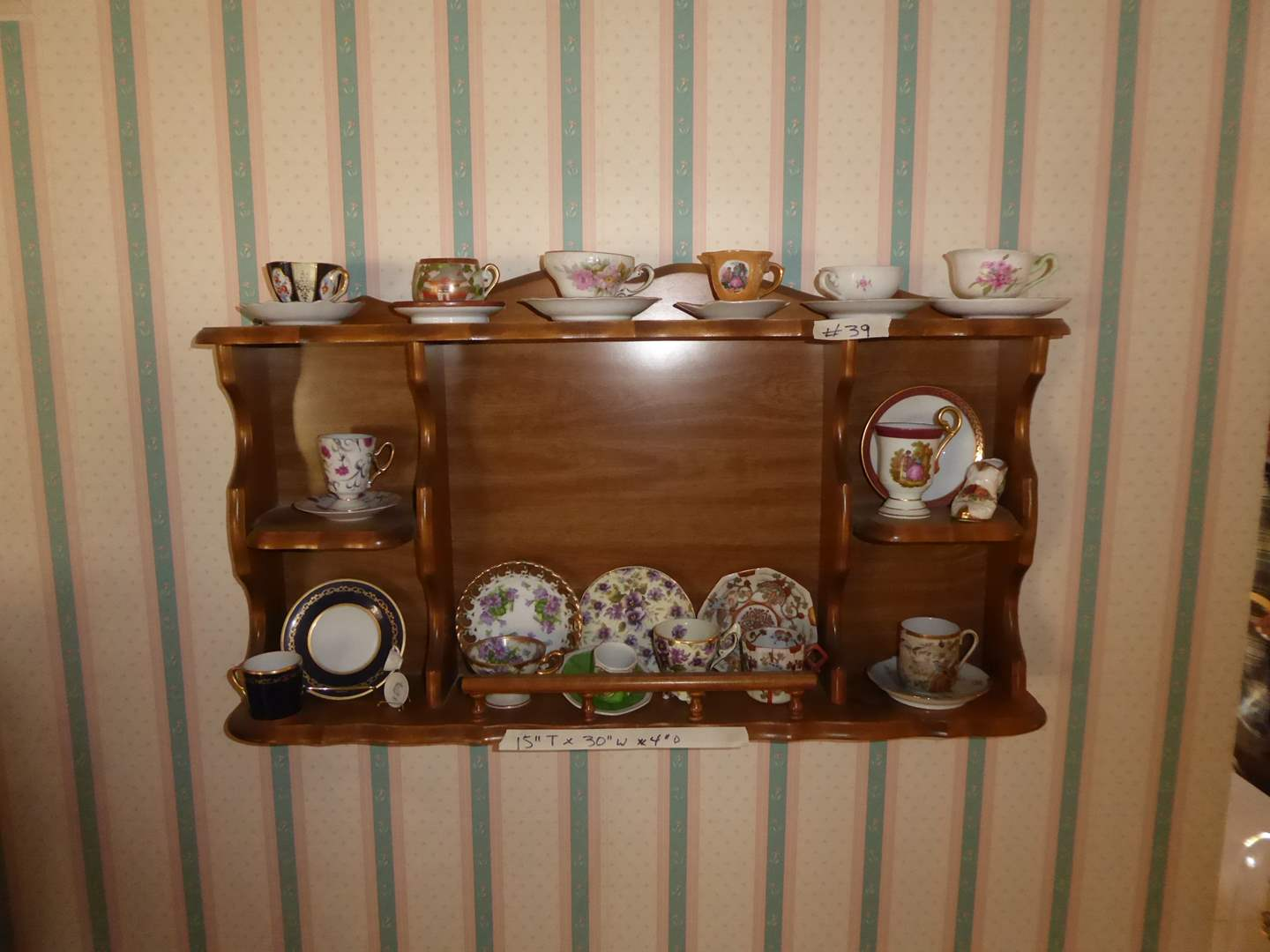 Lot # 39 - Tea Cups & Saucers & Wooden Display Shelf  (main image)