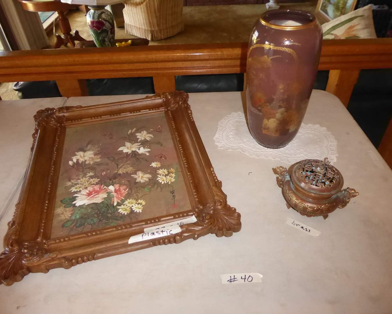 Lot # 40 - Framed Print, Brass Container & Ceramic Vase  (main image)