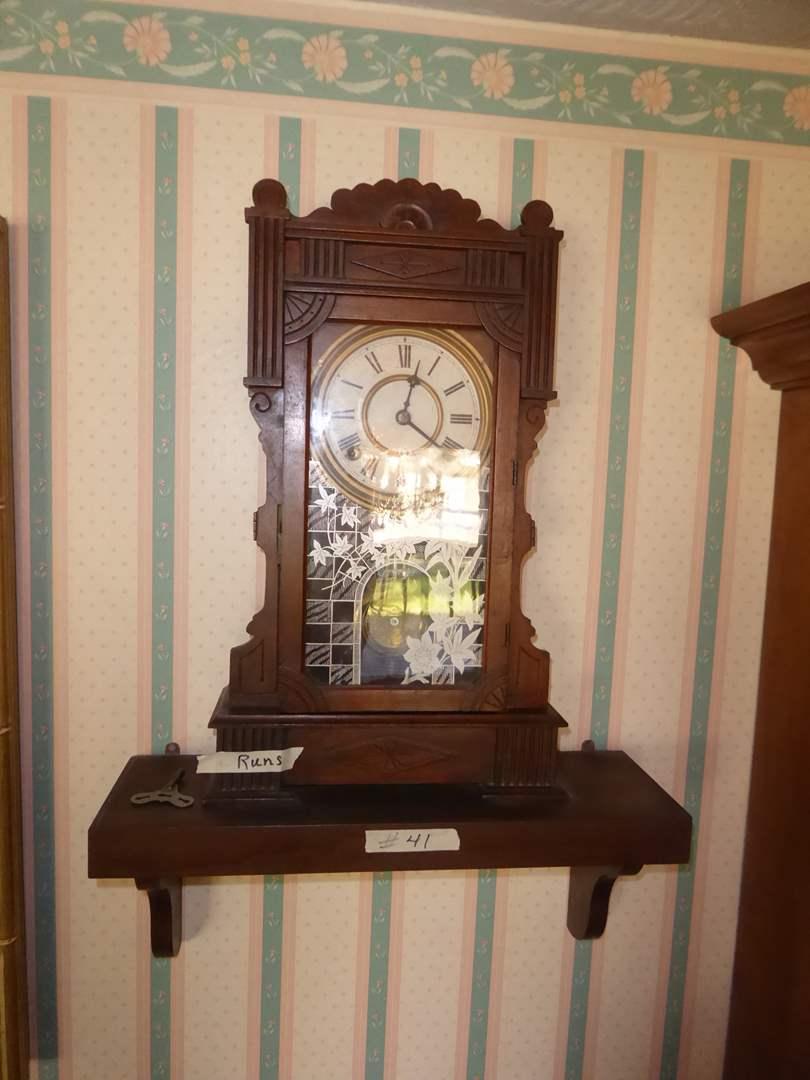 Lot # 41 - Antique WM L Gilbert/Ingraham Parlor/Shelf Mantle Clock(Carved Walnut Case w/ Original Paper, Dial in Excellent Con.) (main image)
