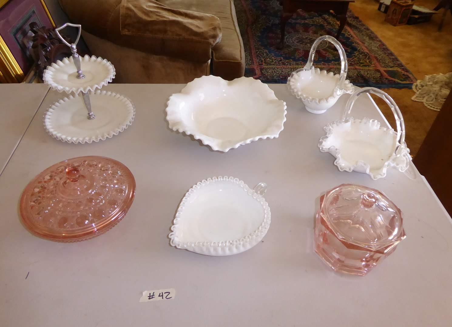 Lot # 42 - Fenton Milk Glass & Pink Depression Glass  (main image)