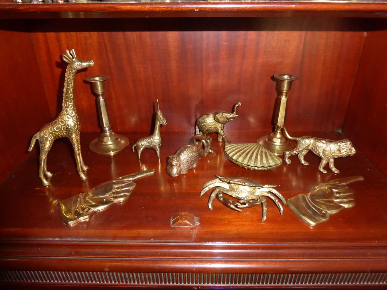 Lot # 43 - Brass Figurines, Hands & Candlesticks  (main image)