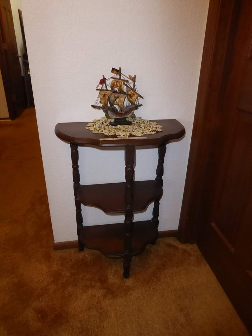 Lot # 47 - Small Three Tiered Console Table & Wooden Model Ship (main image)