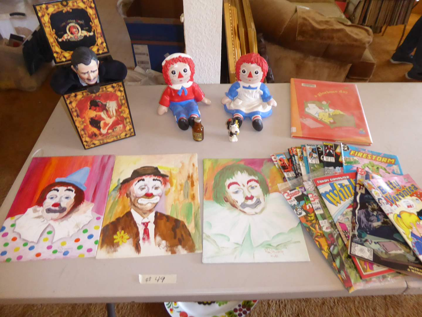 Lot # 49 - Gone With The Wind Musical Box, Plaster Raggedy Ann & Andy Figurines & Comic Books  (main image)