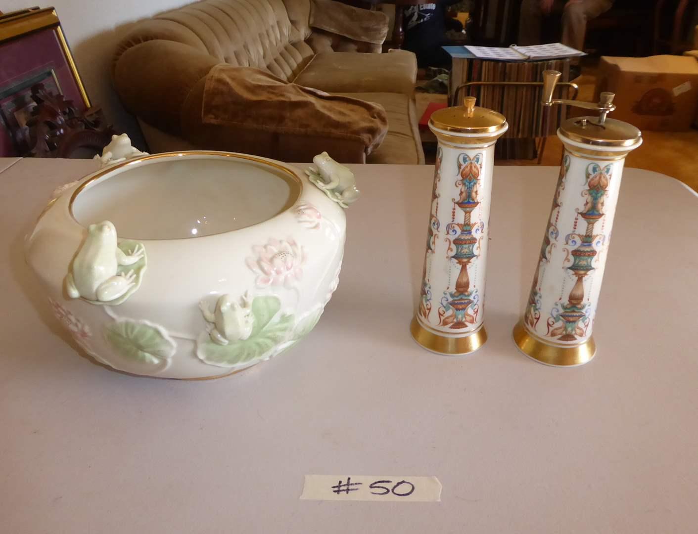 Lot # 50 - Lenox Mill Set Hand Decorated W/24K Gold & Lenox Frog Bowl  (main image)