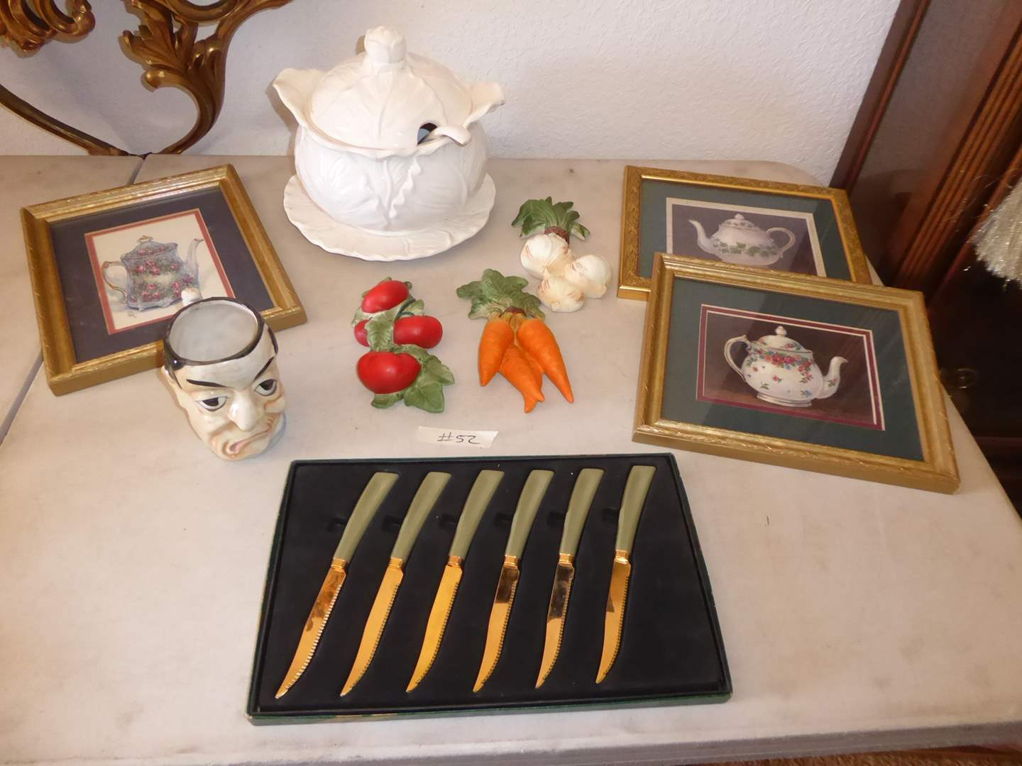 Lot # 52 - Vintage Quickut Gold Plated Stainless Kirby Promotional Knives, Tureen & Wall Decor   (main image)