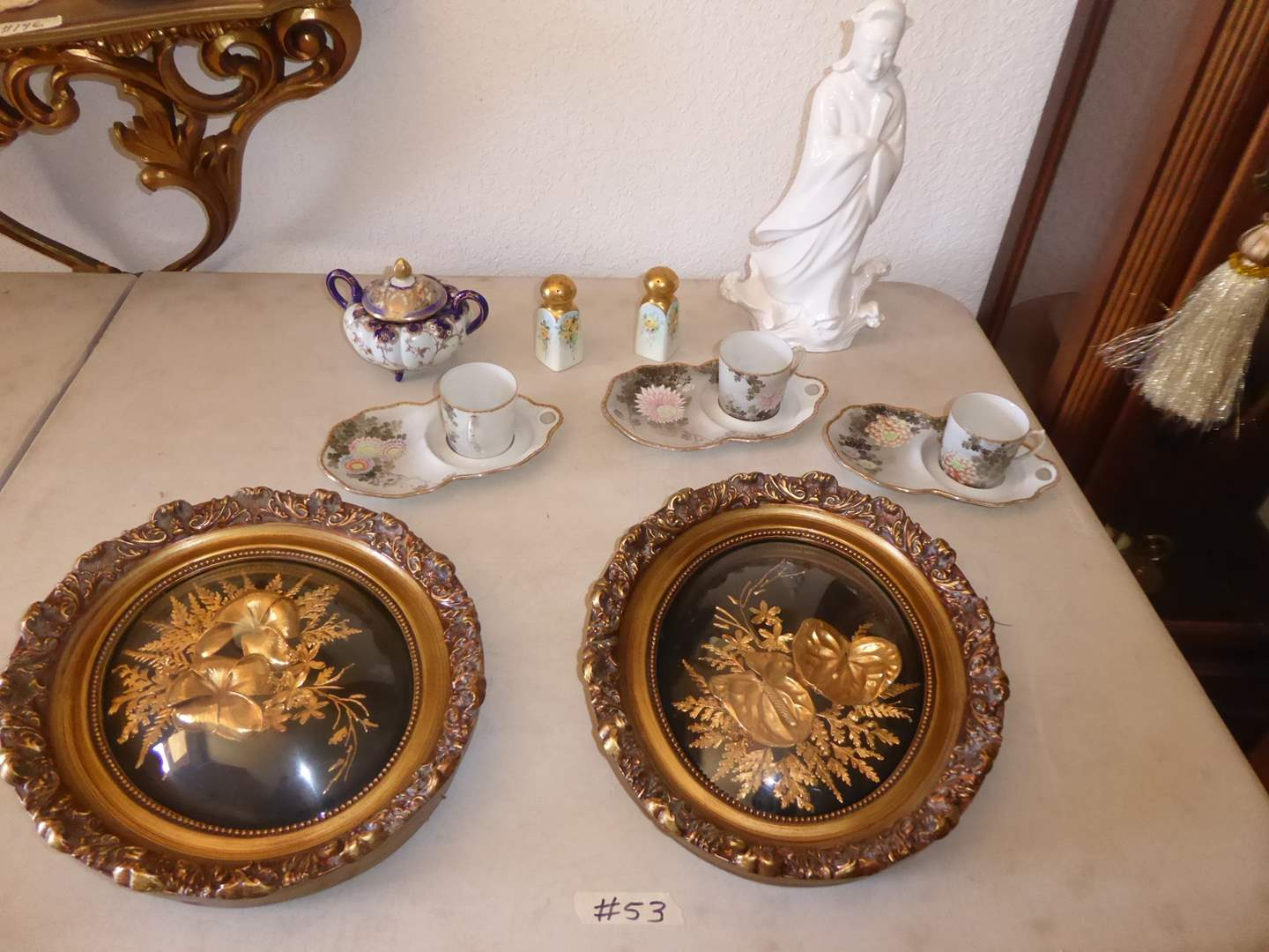 Lot # 53 - Saburo Gold Petrified Hawaiian Flowers, 3 Antique Hand Painted Kutani Tea/Snack Plates & Hand Painted Shakers   (main image)