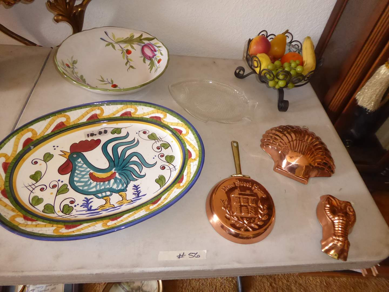 Lot # 56 - Pasta Plate & Bowl & Brass Molds  (main image)