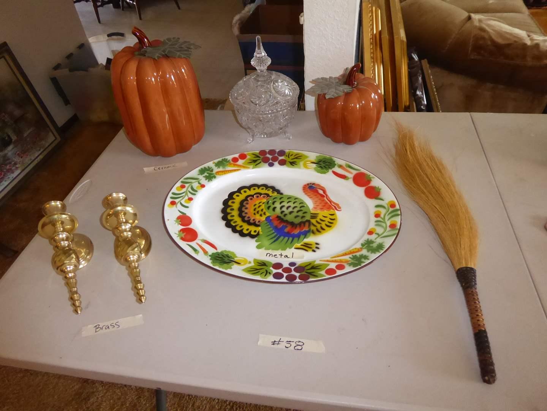 Lot # 58 - Cute Metal Turkey Dish, Ceramic Pumpkins & Brass Candle Sconces   (main image)