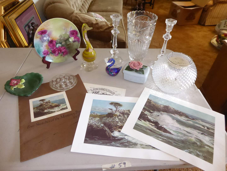 Lot # 59 - Glass Vase, Candle Holders, Birds & Monterey Peninsula Prints  (main image)