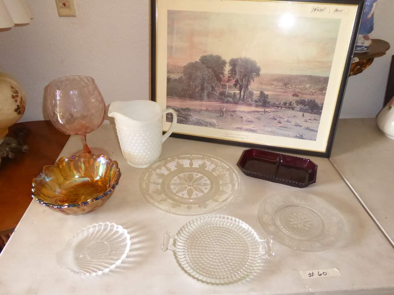 Lot # 60 - Vintage Glass Serving Dishes, Hobnail Pitcher & Framed Print  (main image)