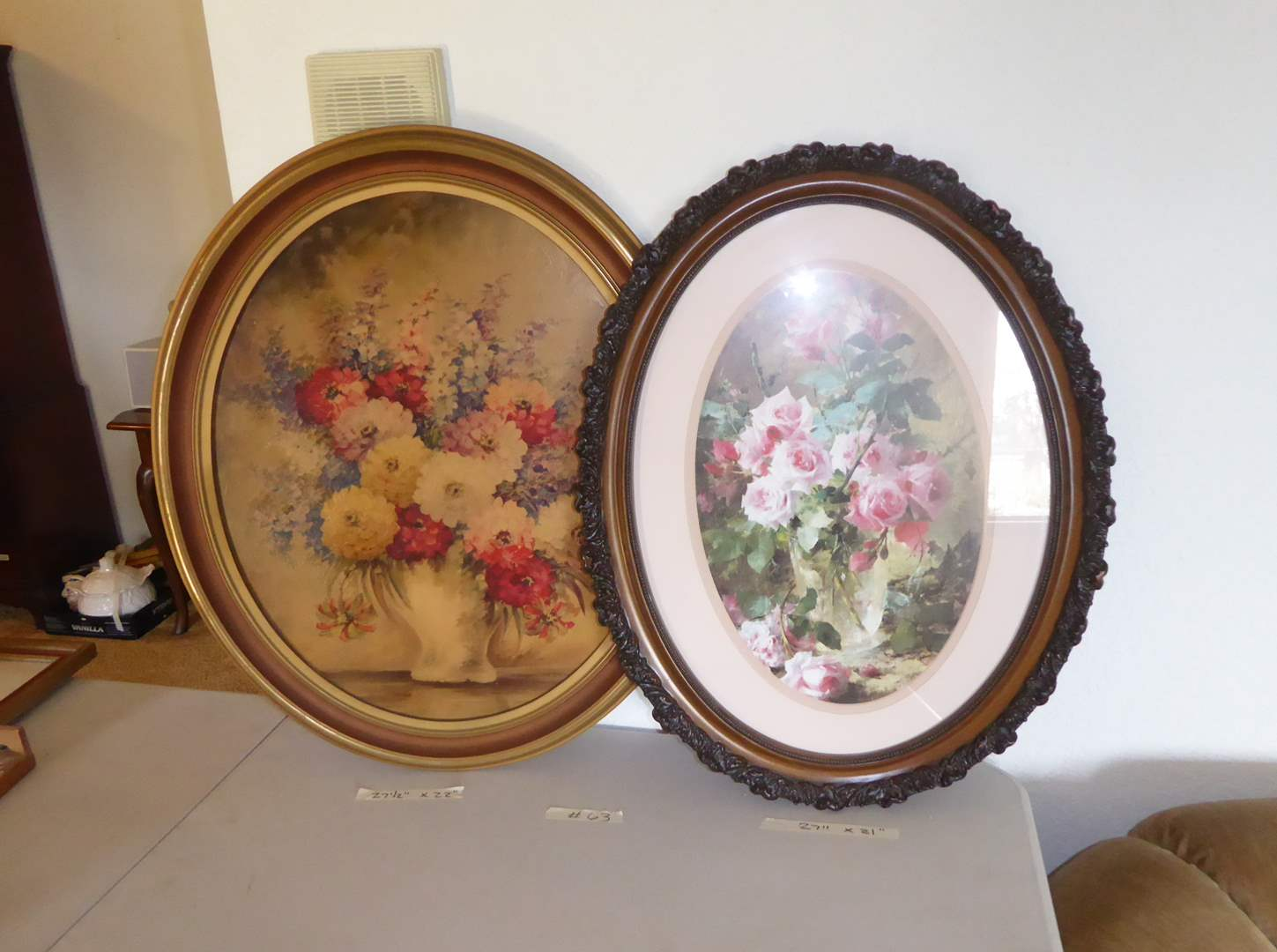 Lot # 63 - Two Oval Framed Floral Prints  (main image)