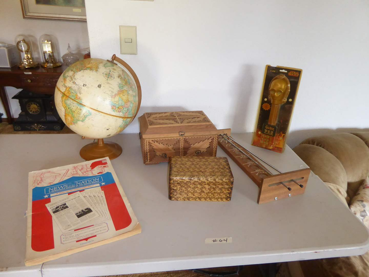 Lot # 64 - Globe, Wooden Boxes & Space Probe Game  (main image)