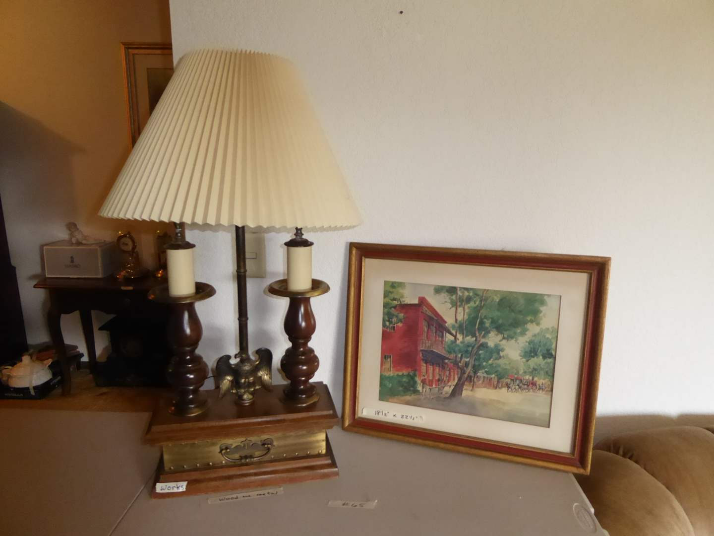 Lot # 65 - Wood & Metal Eagle Table Lamp & Framed Print  (main image)