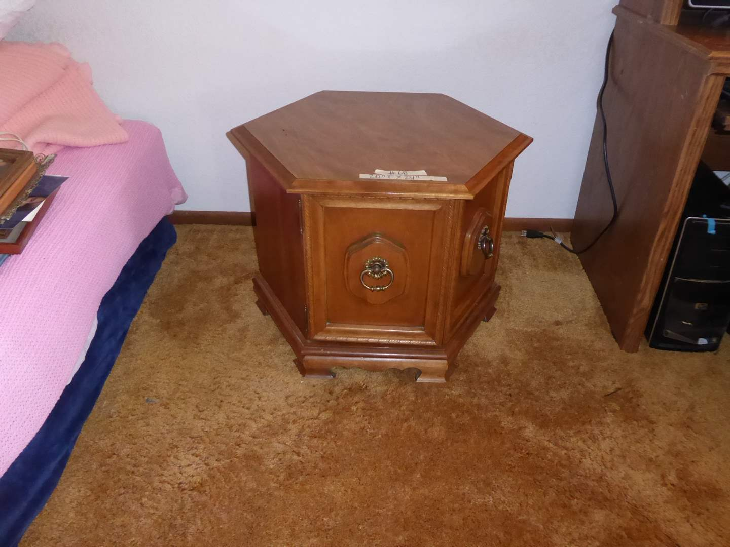 Lot # 68 - Small Vintage Hexagon Side Cabinet  (main image)