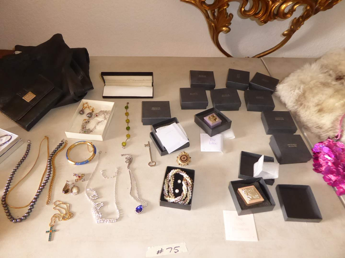 Lot # 75 - Pearl Necklace, Fur, Franklin Porcelain Boxes & Costume Jewelry   (main image)