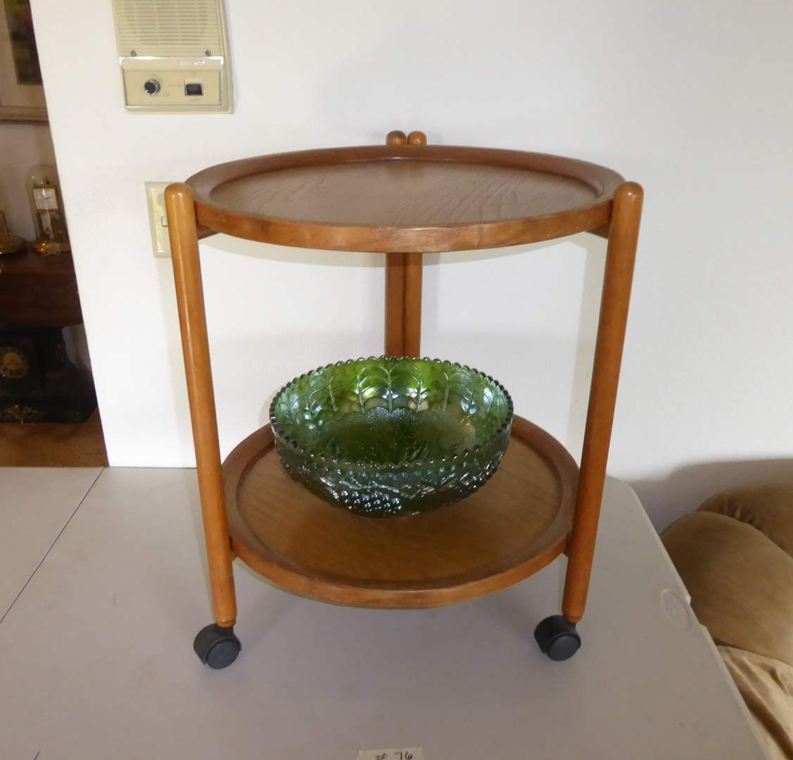 Lot # 76 - Small Two Tiered Fold Up Table & Vintage Glass Bowl  (main image)