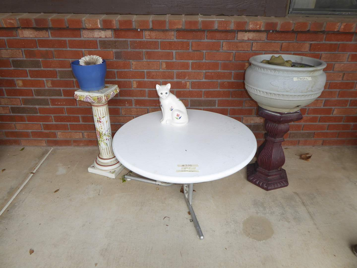 Lot # 375 - Low Metal Table, Plant Stands & Ceramic Cat Figurine  (main image)