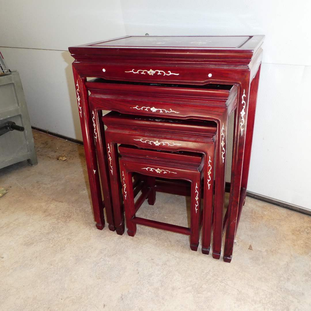 Lot # 300 - Vintage Chinese Rosewood Nesting Tables w/ Mother of Pearl Inlay  (main image)
