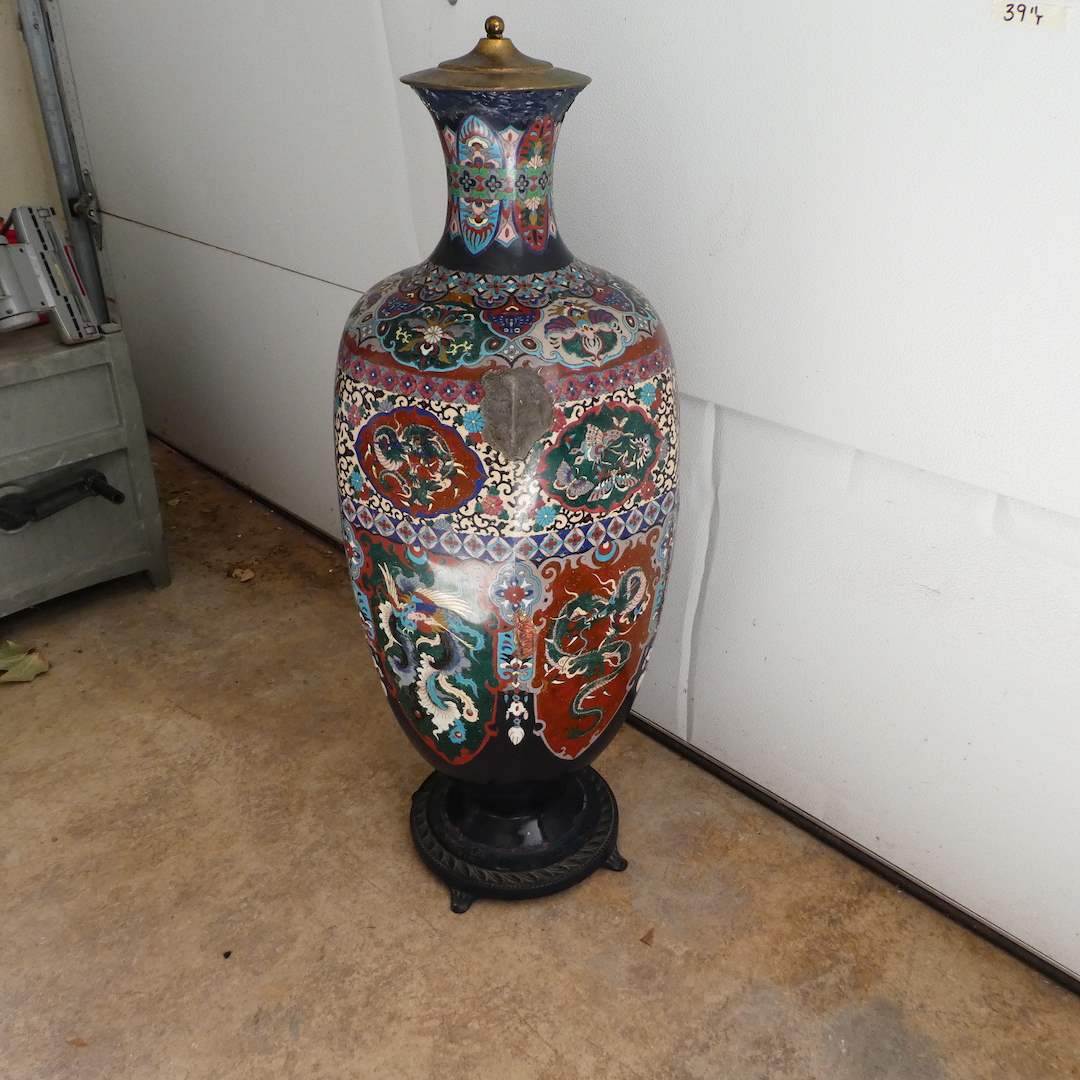 Lot # 301 - Large Vintage Cloisonne Vase with Lid (See all Photos) (main image)