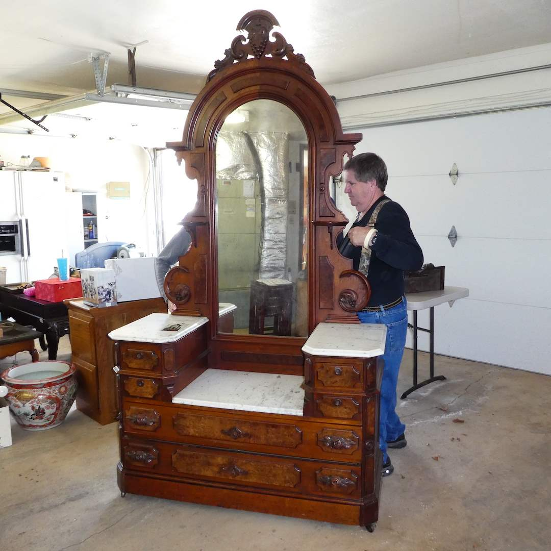Lot # 306 - Beautiful Antique Victorian Vanity w/Marble Top and Mirror on Casters (Hidden Drawer) (main image)